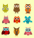 Doodle owls Stock Photo