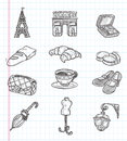 Doodle paris element icons cartoon vector illustration Stock Photography