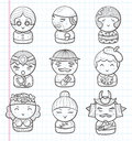 Doodle people icon cartoon illustration Stock Photography