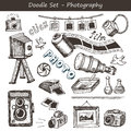 Doodle photography set includes vintage and modern cameras and other photo devices Stock Images