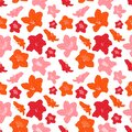 Doodle pink, purple and red floral seamless pattern background with azalea flowers or rhododendron. Colorful floral background. Royalty Free Stock Photo