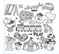 Doodle playground icons cartoon illustration Stock Image