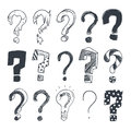 Doodle question marks. Hand drawn interrogation query symbols vector set Royalty Free Stock Photo