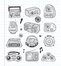 Doodle radio icons cartoon vector illustration Stock Photography