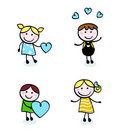 Doodle retro stitch kids with love icons. Stock Images