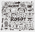 Doodle robot element cartoon vector illustration Stock Photo