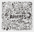Doodle robot element illustrator line tools drawing cartoon vector illustration Royalty Free Stock Photo