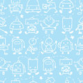 Doodle robots fun seamless pattern background vector cute with hand drawn elements Stock Image