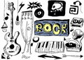 Doodle rock music background and texture Stock Image
