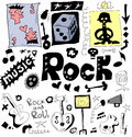 Doodle rock music background and texture Stock Photos