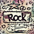 Doodle rock music icons Stock Images