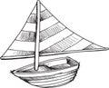 Doodle Sail Boat Vector
