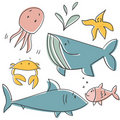Doodle sea animals Stock Photo