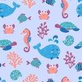 Doodle sea animals seamless pattern.