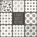 Doodle seamlees patterns vector set Royalty Free Stock Photos