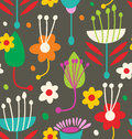 Doodle seamless floral pattern vector Royalty Free Stock Photo