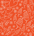 Doodle Seamless Patten With Fl...
