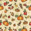 Doodle seamless pattern autumn harvest fruit cute baby ornament background backdrop fabric vector Royalty Free Stock Images