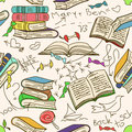 Doodle seamless pattern of books and children comic scribbles Royalty Free Stock Image