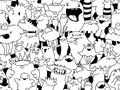 Doodle seamless pattern. Cartoon monster. Royalty Free Stock Photo