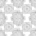 Doodle seamless pattern for coloring book. Black and white ornament, background. Illustration