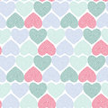 Doodle seamless pattern with hearts on white background Optical illusion 3D three-dimensional volume. Vector