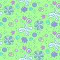 Doodle pattern with tender meadow flowers
