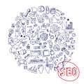 Doodle seo concept with icons on Notepaper.Circle