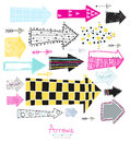 Doodle set - arrows.Creative graphic background.Sketch arrow collection for your design. Hand drawn with ink. Vector illustration. Royalty Free Stock Photo
