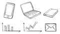 A doodle set of the different gadgets illustration on white background Stock Image
