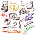Doodle set - fruits and vegetables Stock Image