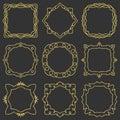 Doodle set hand drawn element for frames, logo, yoga, ethnic design. Gold, glitter, glitter. Set No. 6 of 9 items. Royalty Free Stock Photo