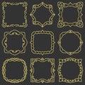 Doodle set hand drawn element for frames, logo, yoga, ethnic design. Gold, glitter, glitter. Set No. 3 of 9 items. Royalty Free Stock Photo