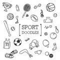 Doodle set of Sport items.