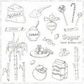 Doodle Set of sugar products Vector illustration