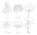 A doodle set of trees illustration on white background Royalty Free Stock Photos
