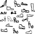 Doodle shoes hand drawn vector illustration Stock Images