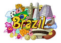 Doodle showing Architecture and Culture of Brazil