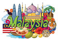 Doodle showing Architecture and Culture of Malaysia