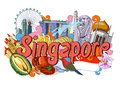 Doodle showing Architecture and Culture of Singapore