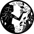 Doodle silhouette of woman and grapes Royalty Free Stock Images