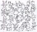 Doodle Sketch Animal Vector Design set Royalty Free Stock Photo