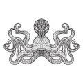 Doodle sketch octopus black line staring stylized character embroidery or engraving pattern pictogram design print abstract vector Royalty Free Stock Photography