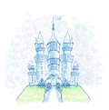 Doodle sketchy castle vector illustration Royalty Free Stock Photo