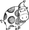 Doodle Sketchy Christmas Cow Royalty Free Stock Photo