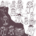 Doodle snowman collection vector illustration of different hand drawn Stock Photo