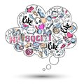 Doodle social media infographics speech bubble icon with isolated vector illustration Royalty Free Stock Photos