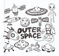 Doodle space element icons cartoon vector illustration Stock Photos