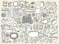 Doodle Speech Bubble Design Elements set Royalty Free Stock Photo