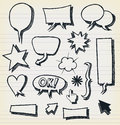 Doodle speech bubbles and elements set illustration of a group of outlined hand drawn sketched design symbols including arrows Royalty Free Stock Image